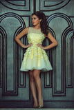 Yellow Sheer Neck Homecoming Dress,Deep V Neck Appliques Short Prom Dress