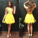 Yellow Jewel Neck Long Sleeve Homecoming Dress,Sheer Back Beading Short Prom Dress H214 - Ombreprom