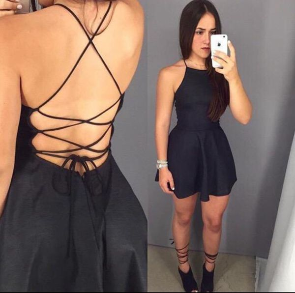 Black Halter Sleeveless Homecoming Dress,Open Back Short Prom Dress H215 - Ombreprom