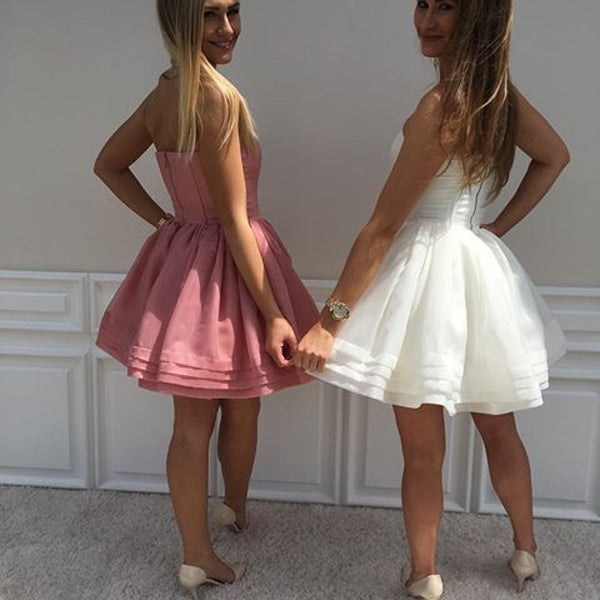 White Sweetheart Strapless Homecoming Dress,A Line Mid Back Short Prom Dress H218 - Ombreprom