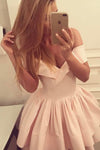 Pink A Line/Princess Off Shoulder Homecoming Dress,Short/Mid Prom Dress H221 - Ombreprom