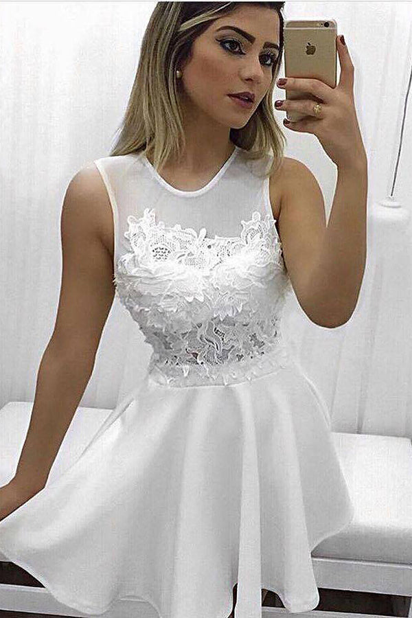 White A Line/Princess Sheer Neck Homecoming Dress,Sleevless Appliques Short/Mid Prom Dress