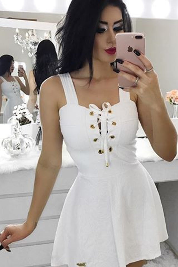 White Square Straps Homecoming Dress,Sleevless Lace Up Short/Mid Prom Dress