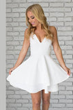 White Sweetheart Spaghetti Sleeveless Homecoming Dress,Short/Mid Prom Dress