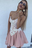 Sweetheart Spaghetti Sleeveless Homecoming Dress,Appliques Short/Mid Prom Dress H230 - Ombreprom