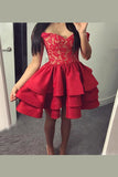 Red Off Shoulder Sleeveless Homecoming Dress,Appliques Ruffles Short/Mini Prom Dress