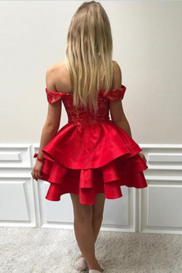 Red Off Shoulder Sleeveless Homecoming Dress,Appliques Ruffles Short/Mini Prom Dress H234 - Ombreprom