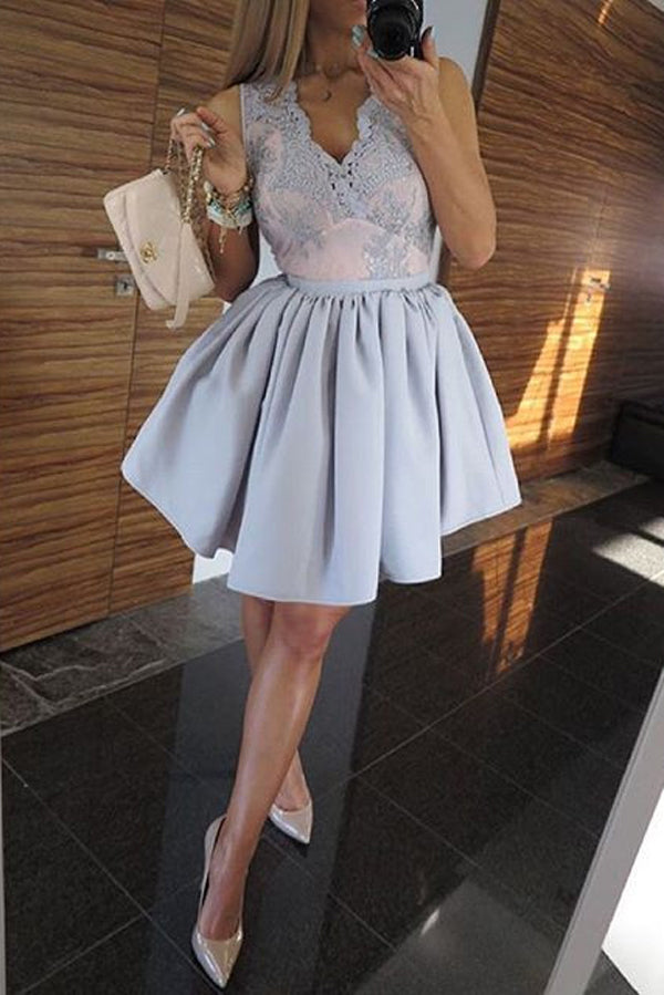 A Line Deep V Neck Sleeveless Homecoming Dress,Appliques Short/Mini Prom Dress H238 - Ombreprom