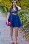Blue A Line Deep V Neck 3/4 Sleeve Homecoming Dress,Appliques Short/Mini Prom Dress H239 - Ombreprom
