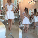 White Square Long Sleeve Homecoming Dress,Keyhole Back Appliques Beading Short/Mini Prom Dress H240 - Ombreprom