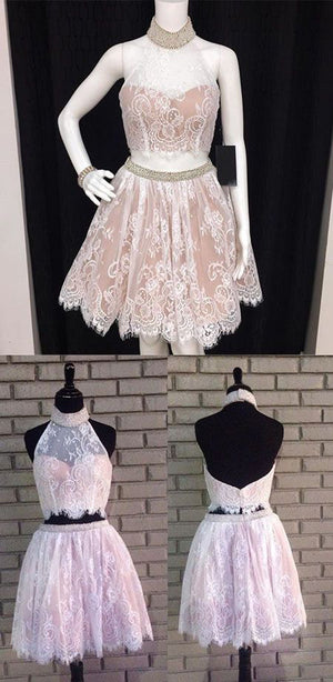 Two Piece A Line Halter Beading Sleeveless Backless Homecoming Dress,Short/Mini Prom Dress H255 - Ombreprom