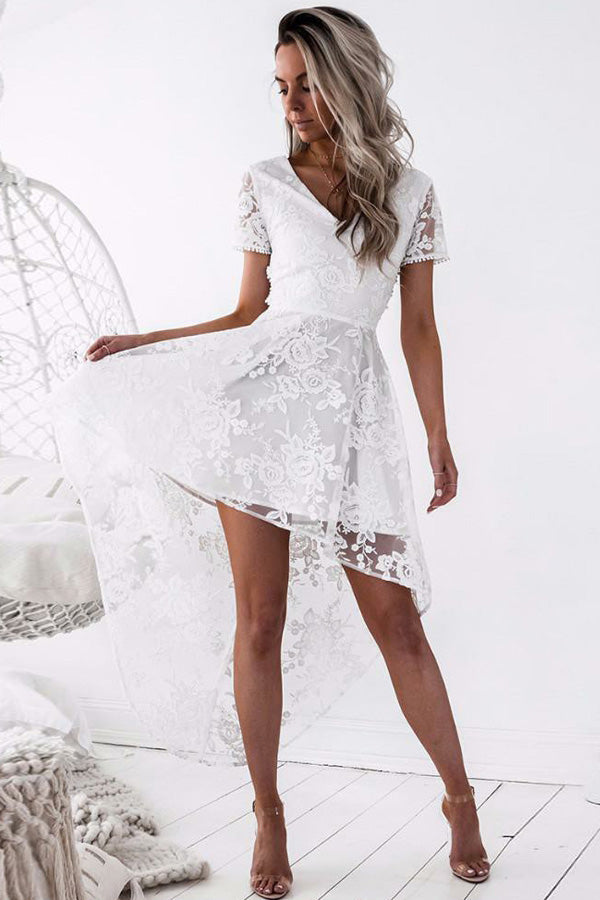 White V Neck Short Sleeve Homecoming Dresses,High Low Open Back Appliques Short Prom Dress