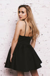 Black A Line Sweetheart Spaghetti Sleeveless Mid Back Short/Mini Homecoming Dress H258 - Ombreprom