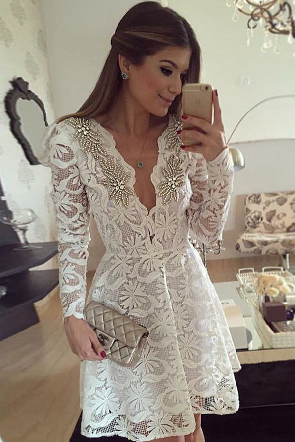 White A Line Deep V Neck Long Sleeve Beading Short/Mini Homecoming Dress