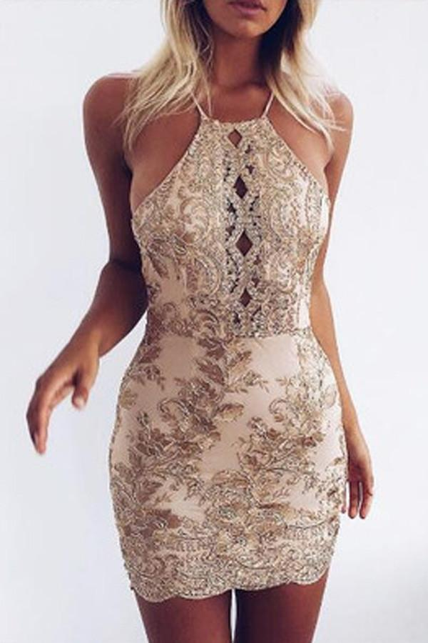 Sheath Halter Sleeveless Backless Sequins Beading Short Homecoming Dress