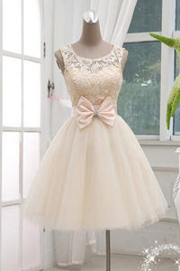 Chic Round Neck A-line Knee Length Bowknot Organza Homecoming Dresses M464 - Ombreprom