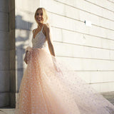 Chic Spaghetti Straps Tulle Sleeveless With Appliques Long Prom Dress P726