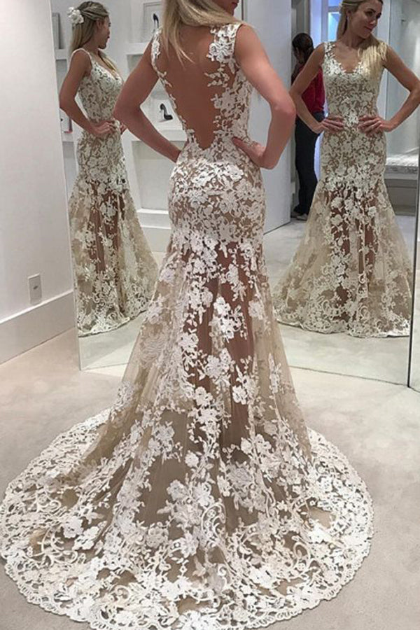 Open Back Sleeveless Cheap Wedding Gowns,Sweep Train Lace Up Appliques Sheer Wedding Dress