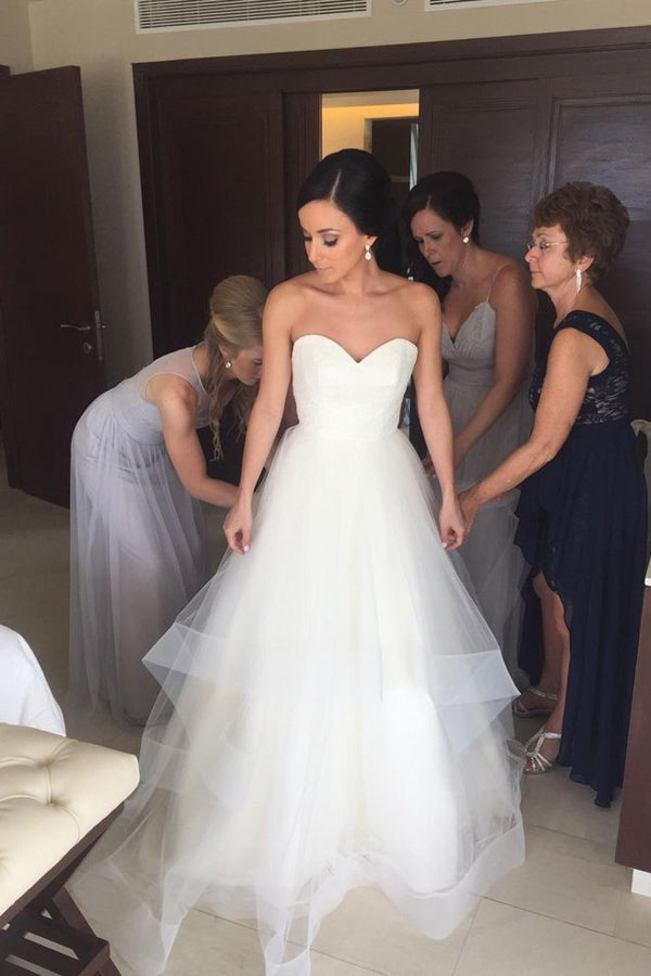 Sweetheart Strapless Wedding Gown,Floor Length Layers Tulle Ruffles Wedding Dress