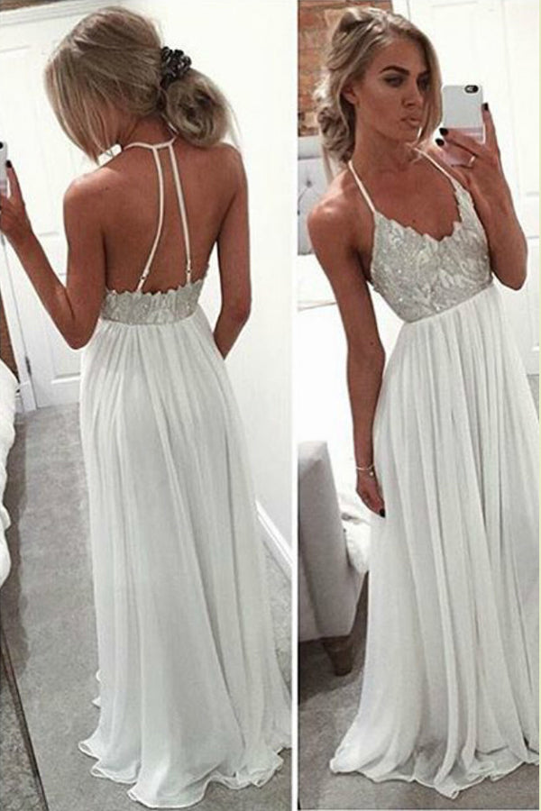 Sweetheart Halter Cheap Wedding Gown,Floor Length Low Back Sequins Beading Beach Wedding Dress