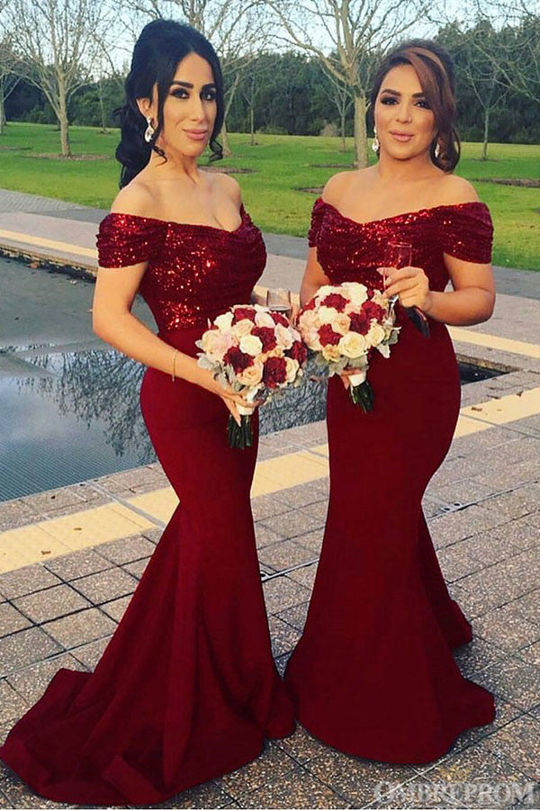 Sexy Off Shoulder Mermaid Bridesmaid Dress with Sequins B488