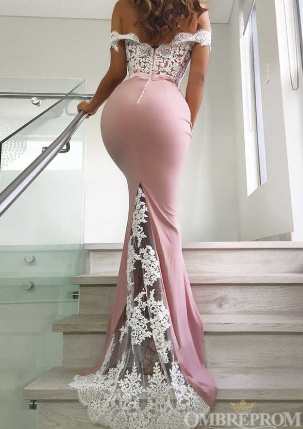 Sexy Off Shoulder Sweetheart Mermaid Lace Prom Dress D30