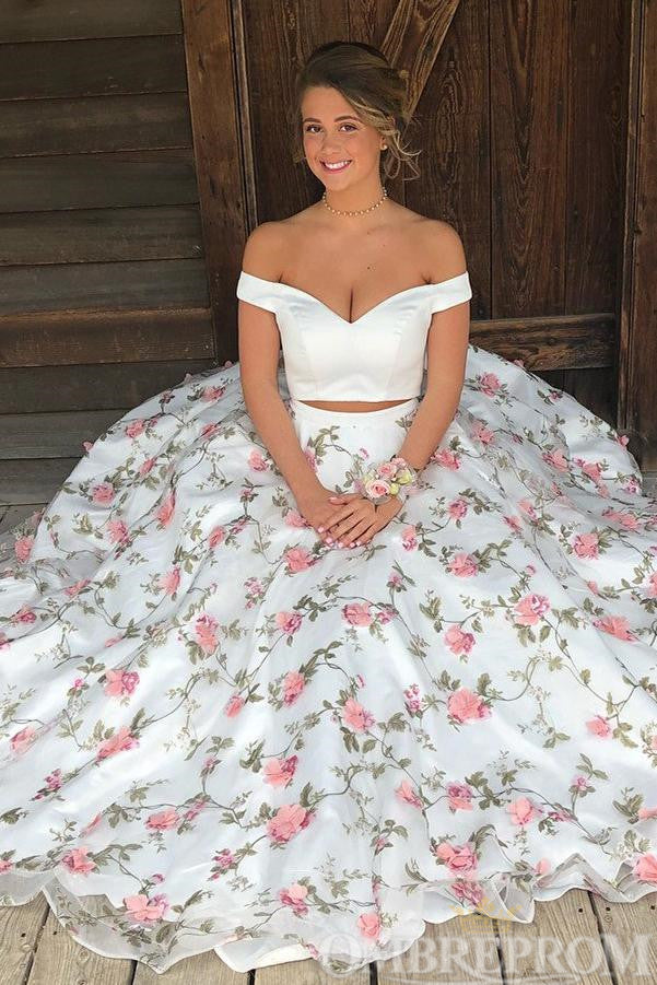 Sexy Off Shoulder Two Piece Prom Dress with Appliques D243