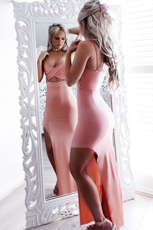 Sexy V Neck Spaghetti Straps Split Side Mermaid Prom Dresses P946