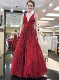 Stunning Burgundy V Neck Sleeveless Prom Dresses Floor Length A Line Formal Party Dress P957