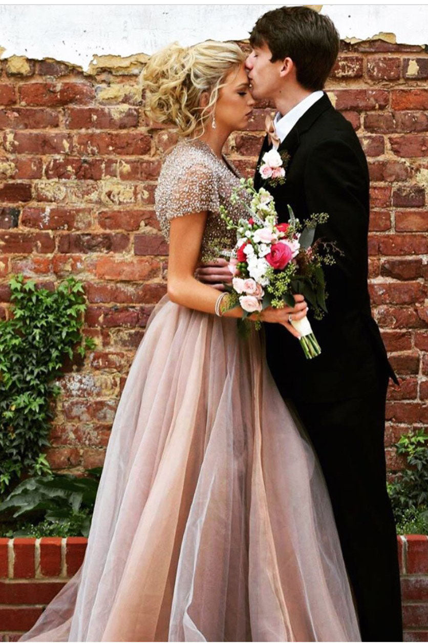 Short Sleeves Open Back A Line Prom Dress with Beading D358
