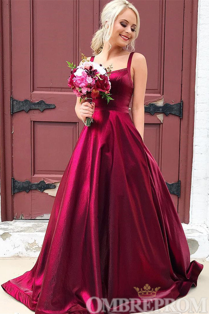 Simple A Line Sleeveless Long Prom Dress D198