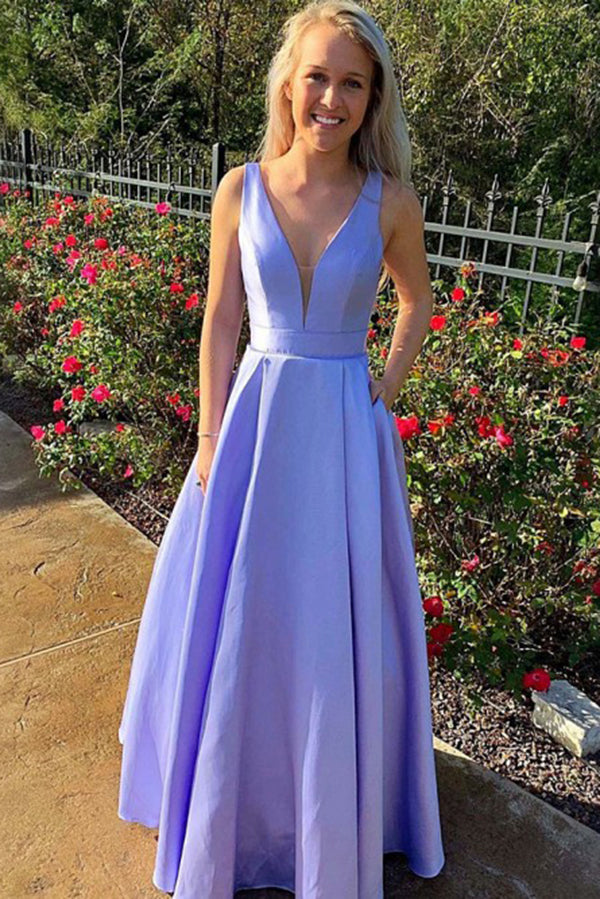 Simple A Line V Neck Satin Sleeveless Long Prom Dress D377