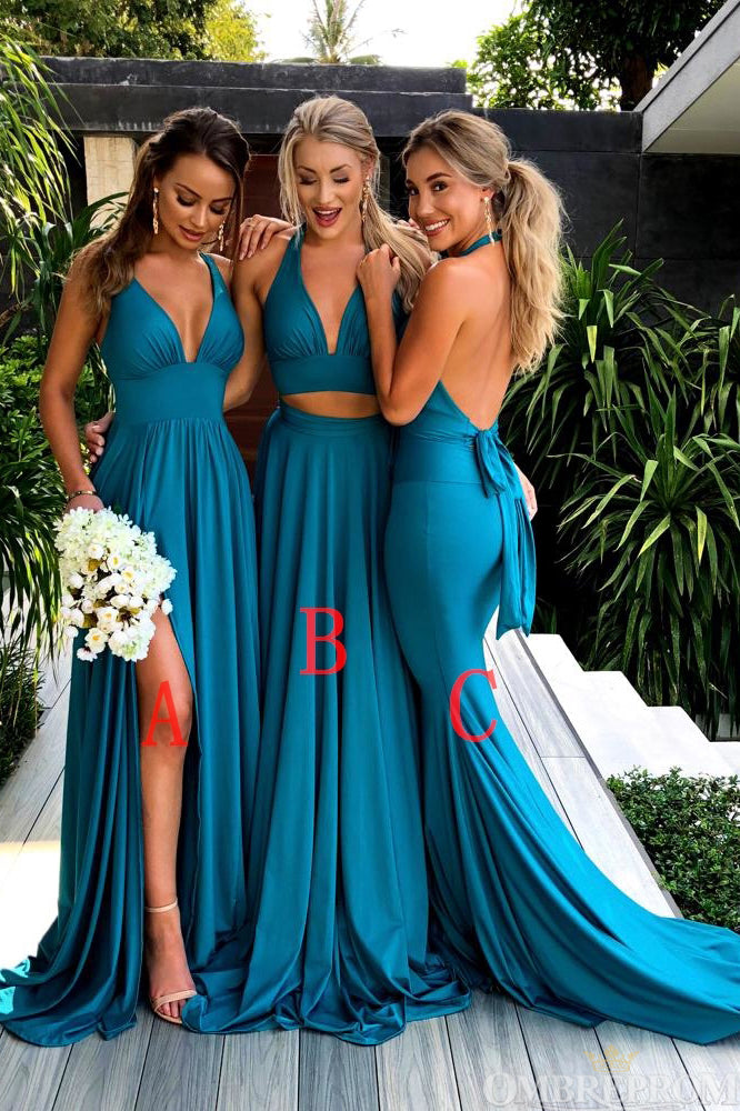 Simple Chiffon V Neck Sleeveless Long Bridesmaid Dress B483