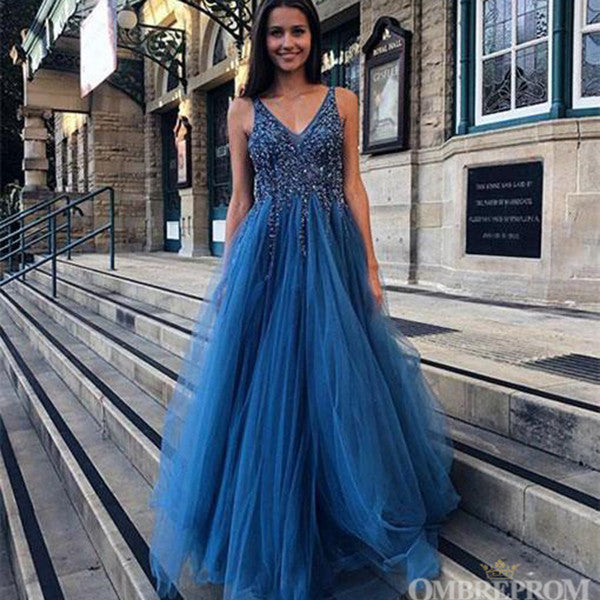 Simple Deep V Neck Party Gown Sleeveless Tulle Prom Dress with Beaded D13