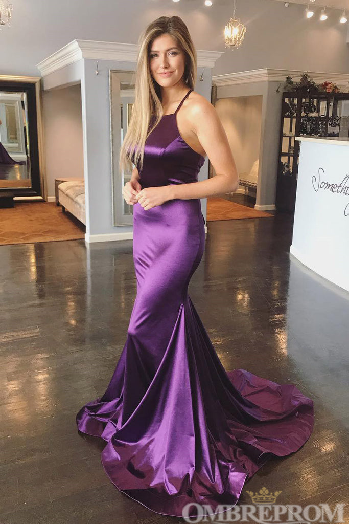 Simple Mermaid Prom Dress Satin Halter Sweep Train Party Dress D108