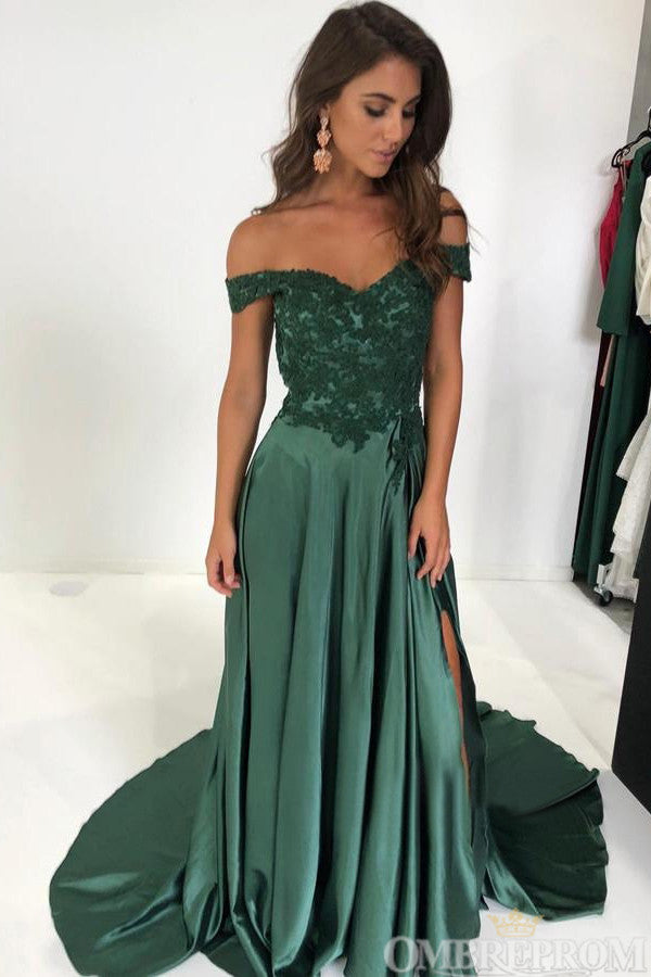 Simple Off Shoulder Satin A Line Lace Top Long Prom Dress D143