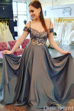 Simple Off Shoulder Spaghetti Straps Sweetheart Prom Dress with Appliques D152