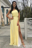 Simple One Shoulder A Line Bridesmaid Dress with Split Side B508