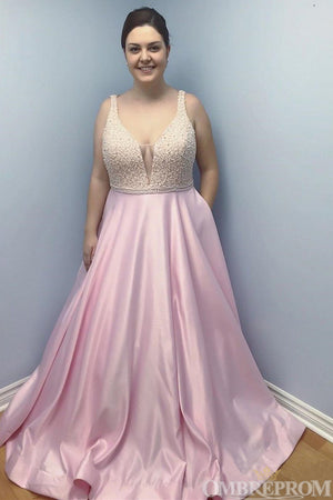 Simple Pink A Line V Neck Satin Long Prom Dress with Beading D34