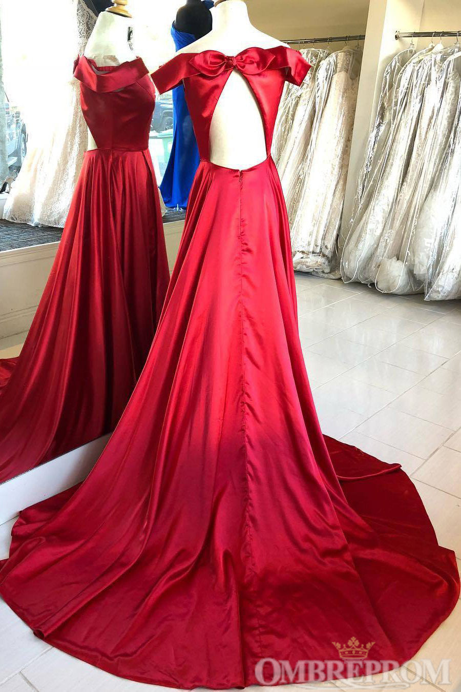 Simple Red Off Shoulder Open Back Prom Dress D299