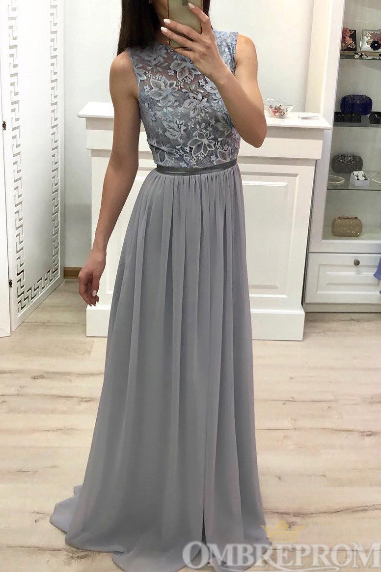 Simple Round Neck Lace Top Sleeveless Long Prom Dress D251