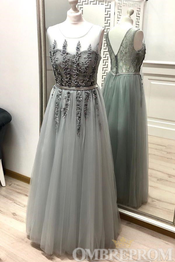 Simple Round Neck Sleeveless Tulle Appliques A Line Evening Dress D224