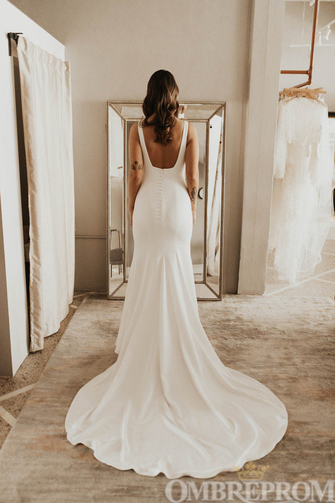 Simple Backless Court Train  Mermaid Wedding Dress W720