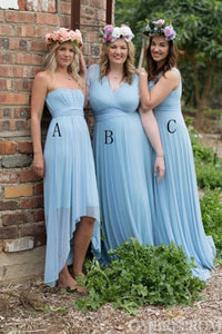 Simple Sky Blue Chiffon Mismatched Bridesmaid Dress B501