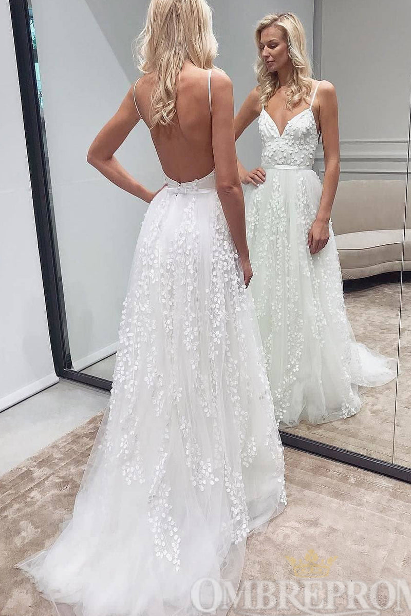 Simple Spaghetti Straps Backless A Line Wedding Dresses W784