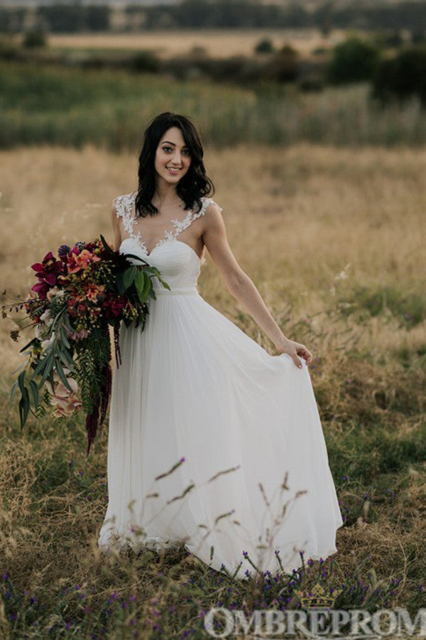 Simple Sweetheart A Line Chiffon Wedding Dress Long Bridal Gown W699