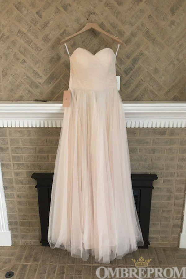 Simple Sweetheart Low Back Tulle Wedding Dress A Line Bridal Gown W667