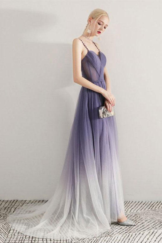 Simple Sweetheart Ombre Prom Dress Spaghetti Straps Long Party Gown D293
