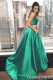 Simple Two Piece A Line Prom Dress Long Party Gown D311