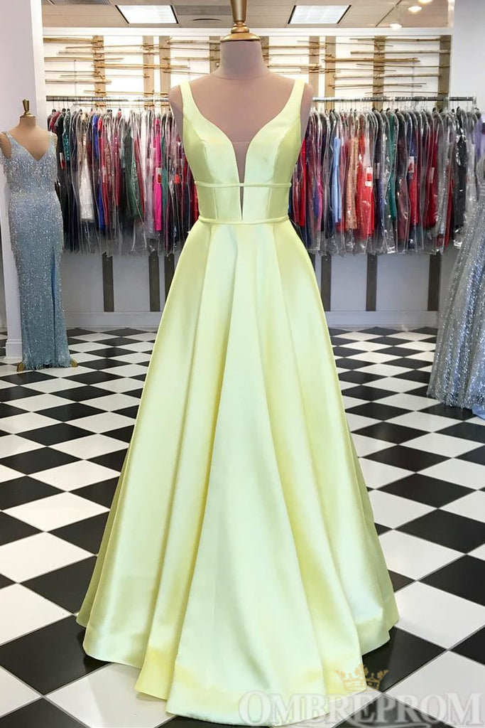Simple V Neck Dark Green A Line Sleeveless Satin Prom Dress D185